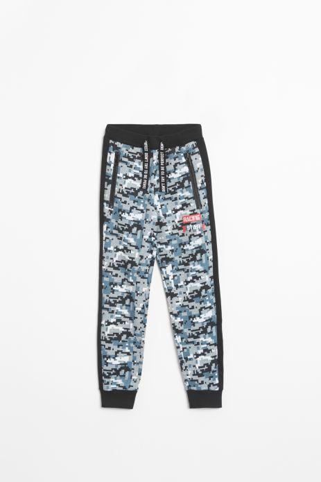 Spodnie dresowe wielokolorowe z aplikacją na nogawce