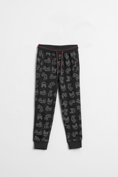 Spodnie dresowe w kolorze grafitowym  z nadrukiem