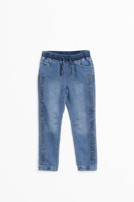 Spodnie jeansowe z gumkami w nogawkach