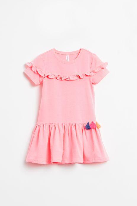 Sukienka z krókim rękawem w kolorze różowym z falbankami i kolorowymi chwostami