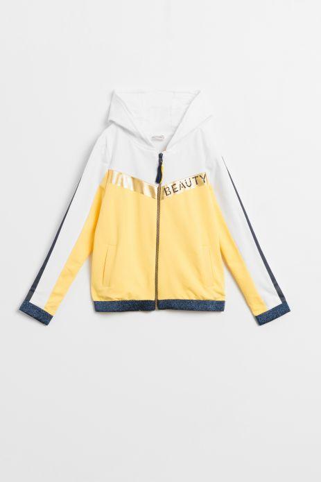 Bluza krótka w kolorze żółtym z kapturem ze złotymi pasami